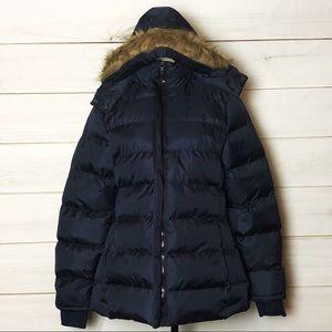 NWOT Women's Blue Fur Trimmed Puffer Coat Sz M